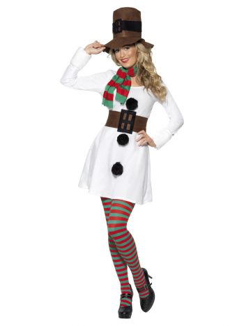 Miss Snowman Costume, White