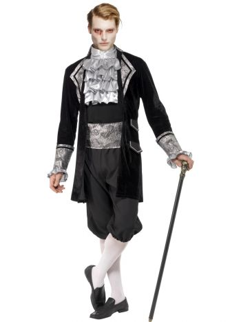 Fever Male Baroque Vampire Costume, Black