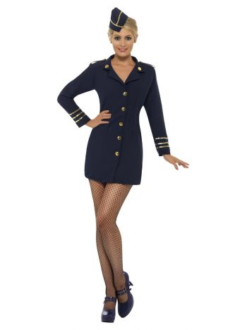Flight Attendant Costume, Navy Blue