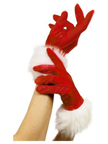 Santa Gloves, Red
