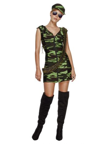 Fever Combat Girl Costume, Camouflage Green