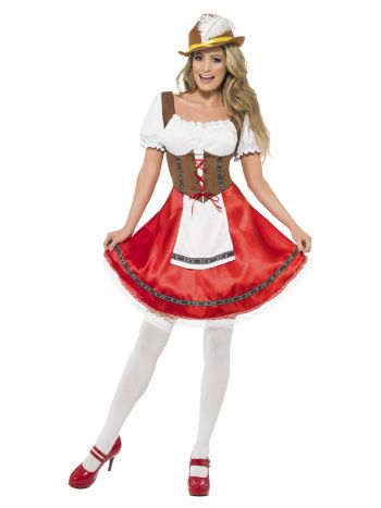 Bavarian Wench Costume, White & Red