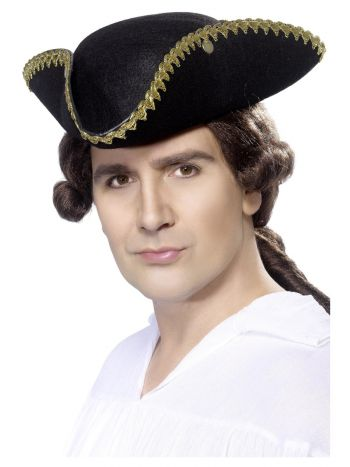 Dick Turpin Tricorn Hat, Black
