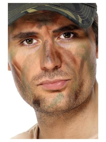 Smiffys Make-Up FX, Army Camouflage Kit, Grease, M