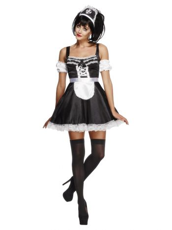 Fever Flirty French Maid Costume, Black