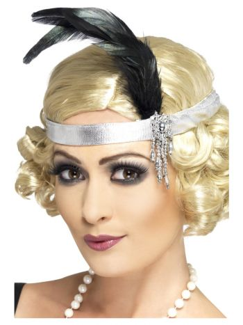 Silver Satin Charleston Headband, Silver