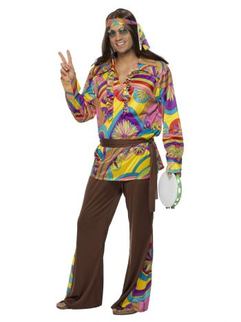 Psychedelic Hippie Man Costume, Multi-Coloured