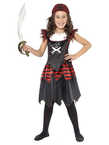Pirate Skull & Crossbones Girl Costume, Black