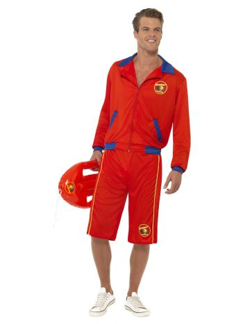 Baywatch Beach Men's Lifeguard Costume, Red