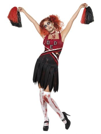 High School Horror Cheerleader Costume, Red & Blac