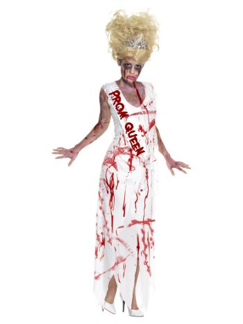 High School Horror Zombie Prom Queen Costume, Whit