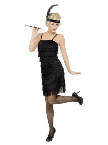 Deluxe Fringe Flapper Costume, Black
