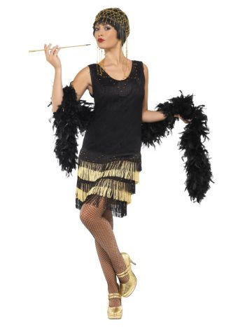 1920s Fringed Flapper Costume, Black