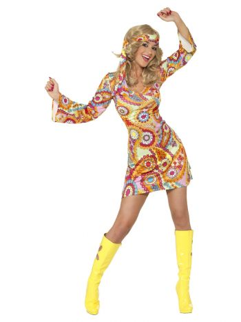 60s Hippy Costume, Multi-Coloured