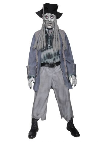 Deluxe Zombie Ghost Pirate Costume, Top, Trousers,