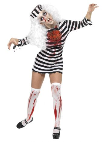 Zombie Convict Costume, Black & White