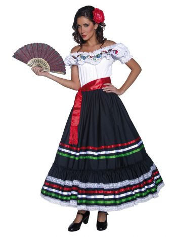 Authentic Western Sexy Senorita Costume, Black & W