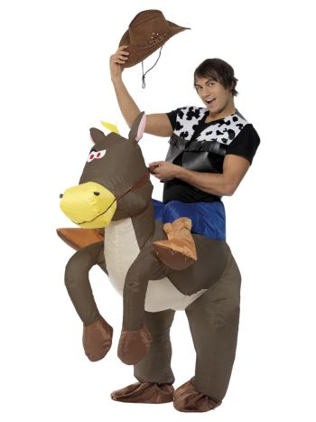 Ride Em Cowboy Inflatable Costume, Brown