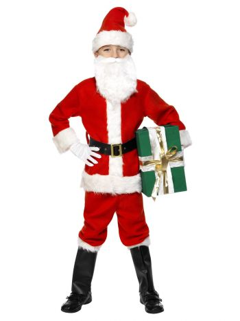 Deluxe Santa Costume & Beard, Red