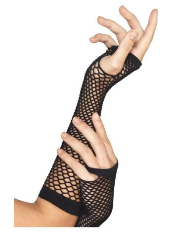 Fishnet Gloves, Long, Black