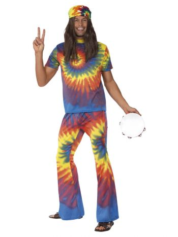 60s Tie Dye Top and Flared Trousers, Multi-Colou