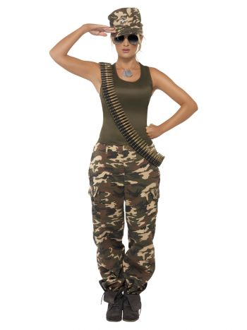 Deluxe Khaki Camo Costume, Female, Khaki Green