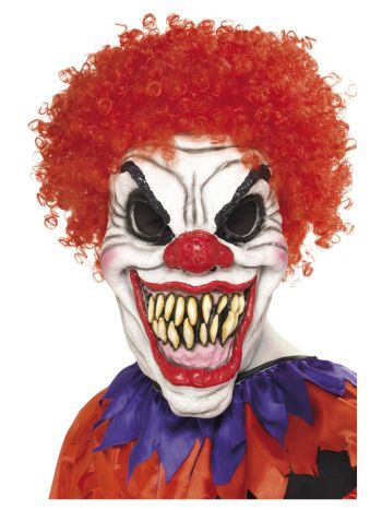 Scary Clown Mask, White & Red