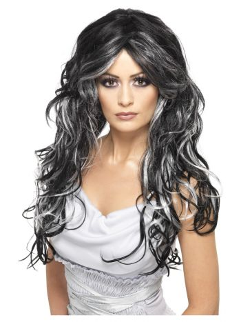 Gothic Bride Wig, Black & White