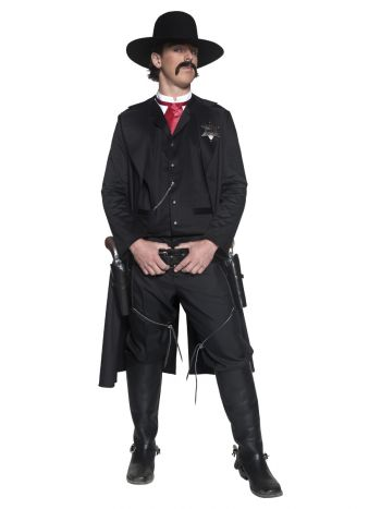 Deluxe Authentic Western Sheriff Costume, Black