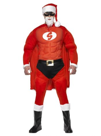 Super Fit Santa Costume & Beard, Red
