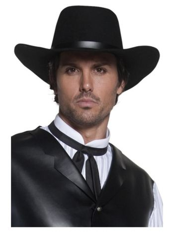 Authentic Western Gunslinger Hat, Black