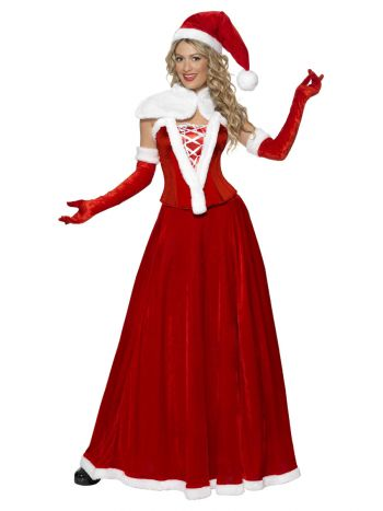 Luxury Miss Santa Costume, Red