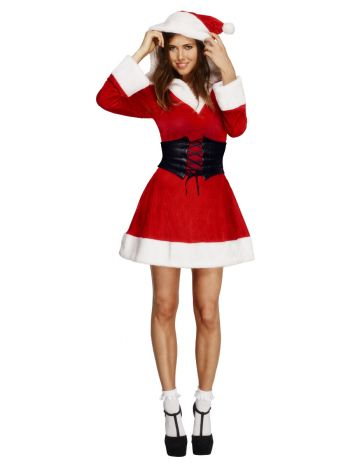Fever Hooded Santa Costume, Red