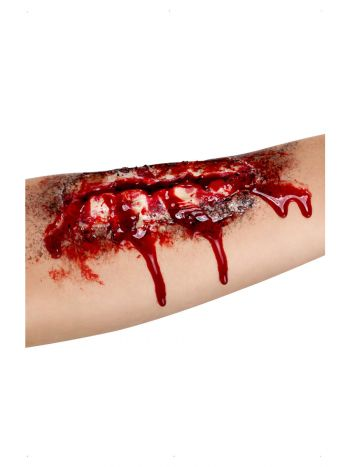 Smiffys Make-Up FX, Open Wound Latex Scar, Red