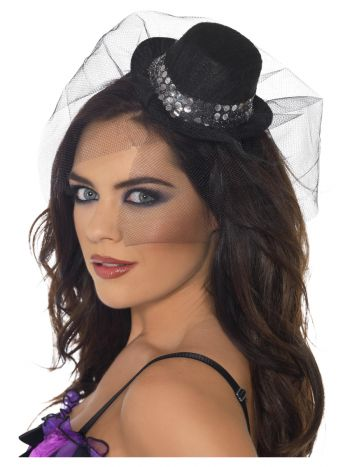 Fever Mini Top Hat on Headband, Black