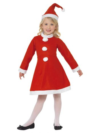 Santa Girl Costume, Red