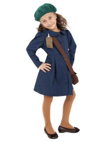 World War II Evacuee Girl Costume, Blue
