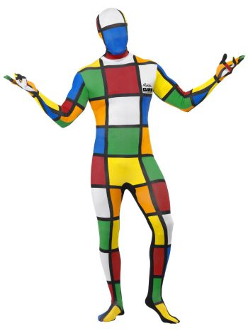 Rubik's Cube Second Skin Costume, Multi-Coloured
