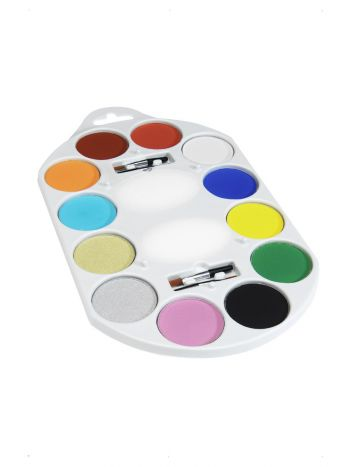 Smiffys Make-Up FX, 12 Colour Palette, Aqua, Multi