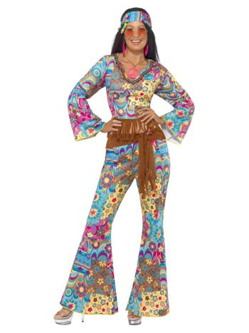 Hippy Flower Power Costume, Multi-Coloured