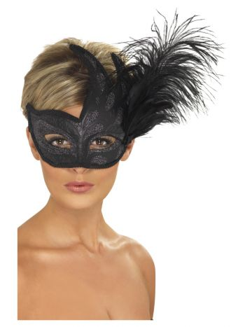 Ornate Colombina Feather Mask, Black