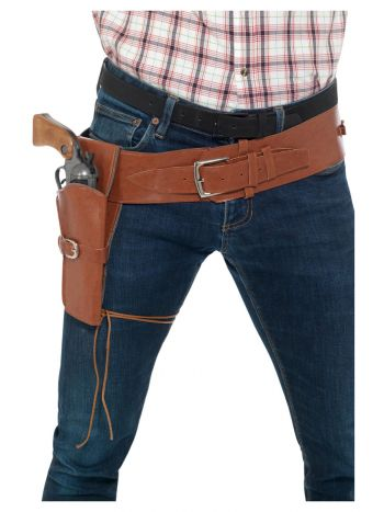 Adult Faux Leather Single Holster with Belt, Tan