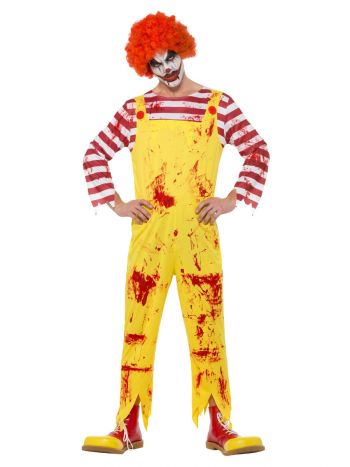 Kreepy Killer Clown Costume, Yellow & Red