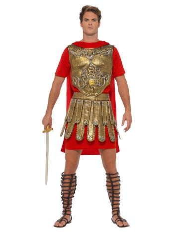 Economy Roman Gladiator Costume, Gold & Red