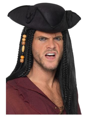 Tricorn Pirate Captain Hat, Black
