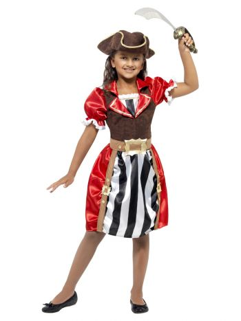 Girls Pirate Captain Costume, Red