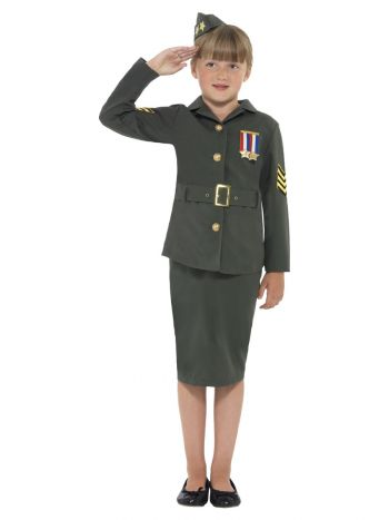 WW2 Army Girl Costume, Khaki Green