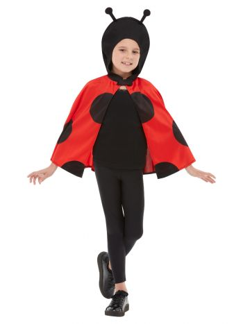 Ladybird Hooded Cape, Black & Red
