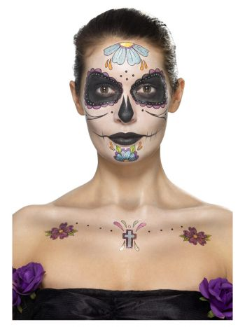 Smiffys Make-Up FX, Day of the Dead Kit, Aqua, Mul
