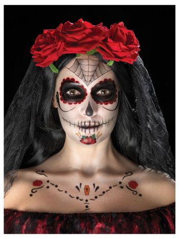 Smiffys Make-Up FX, Day of the Dead Kit, Aqua, Red
